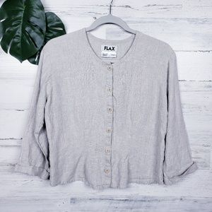 Flax Linen Size Small Button Front Shirt in Cream